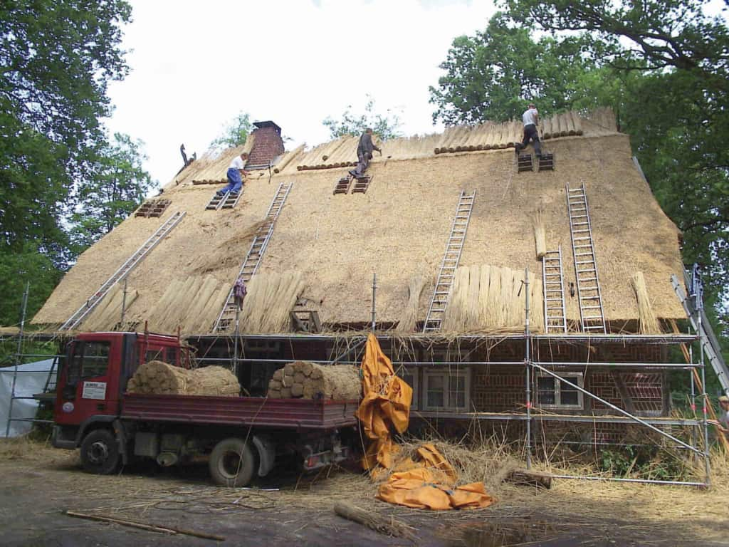 Reconstruction of the thatched roof of the cottage in Bockheber   VNP Stiftung