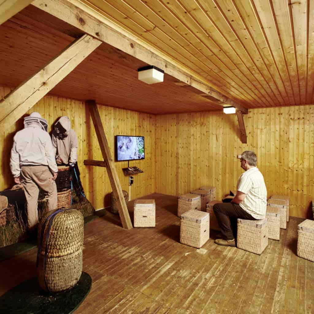 Bienenwelten Niederhaverbeck: Blick in die Ausstellung Heideimkerei   Foto: Christian Burmester