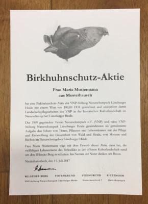 Birkhuhnschutz-Aktie der VNP-Stiftung Naturschutzpark