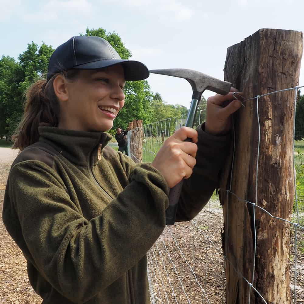 FÖJlerin Skadi beim Zaunbau