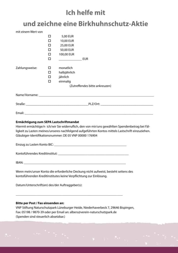 Bild Formular Birkhuhnschutz-Aktie | VNP Stiftung Naturschutzpark
