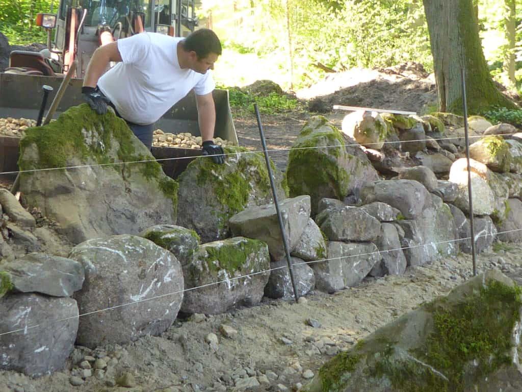 Sanierung alte Trockensteinmauer Wilsede