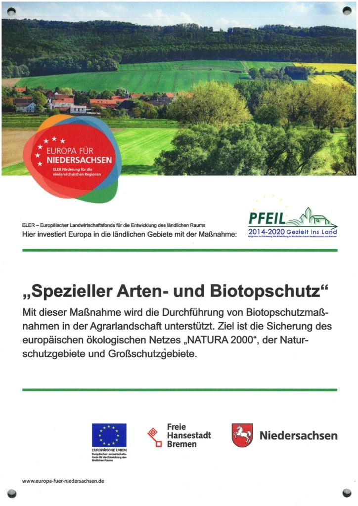 Hinweisschild: Spezieller Arten- und Biotopschutz