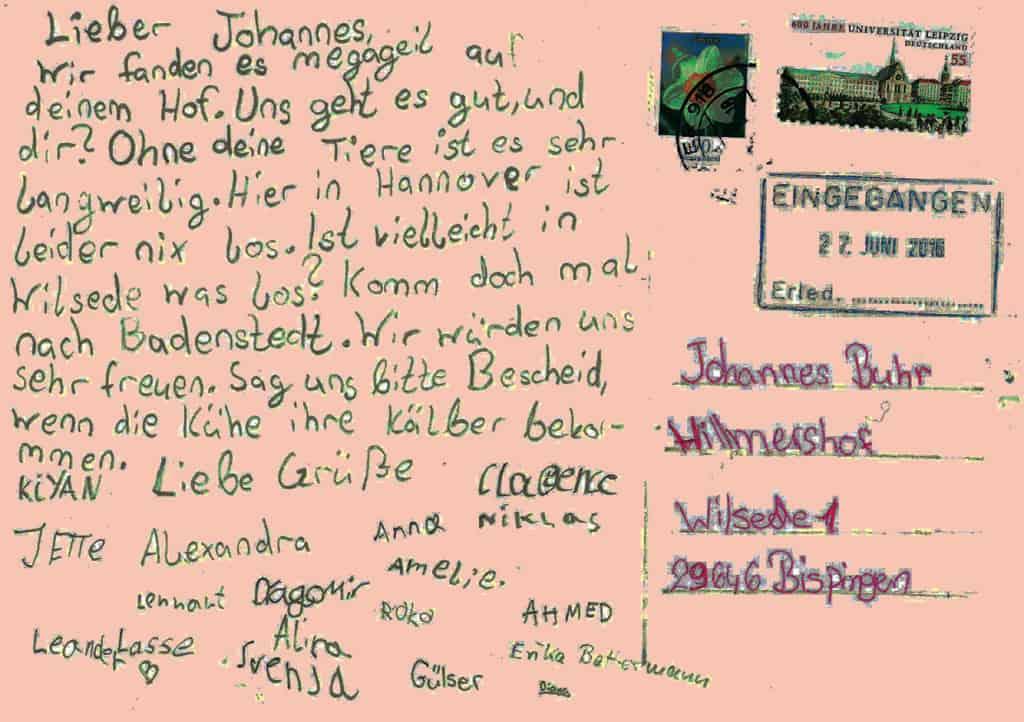 VNP Schulbauernhof: Postkarte der 4. Klasse aus Badenstedt | VNP Kinderakademie