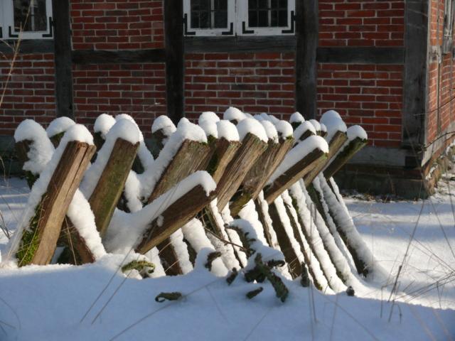 Winter: Eekenboltentun (Eichenbohlenzaun) im Schnee | Foto: VNP Stiftung Naturschutzpark Lüneburger Heide